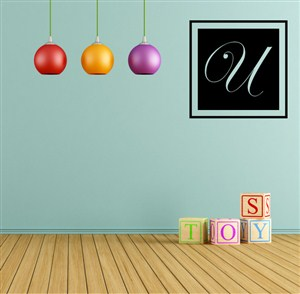 Square Frame Monogram - U - Vinyl Wall Decal - Wall Quote - Wall Decor