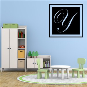Square Frame Monogram - Y - Vinyl Wall Decal - Wall Quote - Wall Decor