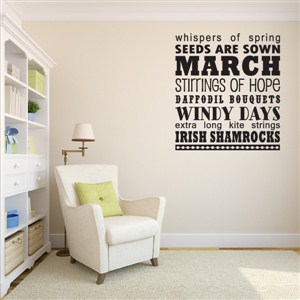 Match seeds are sown whispers of spring - Vinyl Wall Decal - Wall Quote - Wall Decor