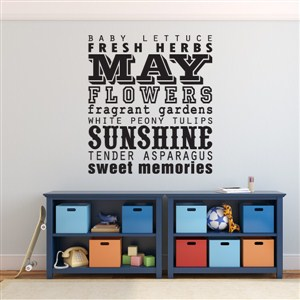 May flowers sunshine sweet memories - Vinyl Wall Decal - Wall Quote - Wall Decor