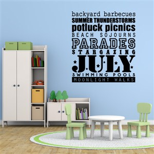 July parades backyward barbecues stargazing - Vinyl Wall Decal - Wall Quote - Wall Decor