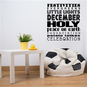 December festivies little lights peace on earth - Vinyl Wall Decal - Wall Quote - Wall Decor