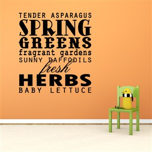 Spring green fresh herbs baby lettuce - Vinyl Wall Decal - Wall Quote - Wall Decor