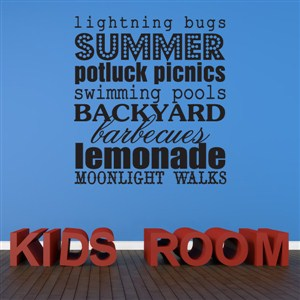 Summer lightning bugs potluck picnics swimming pools - Vinyl Wall Decal - Wall Quote - Wall Decor