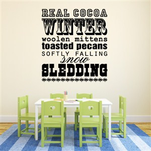 Winter real cocoa woolen mittens toasted pecans - Vinyl Wall Decal - Wall Quote - Wall Decor