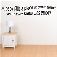 A baby filld a place in your heart you neve knew was empty - Vinyl Wall Decal - Wall Quote - Wall Decor