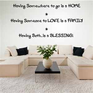Having somewhere to go is a home Having someone to love is a family