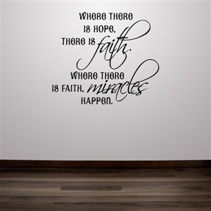 Where there is hope, there is faith. Where there is faith, miracles happen.