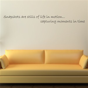 Snapshots are stills of life in motion … capturing moments in time