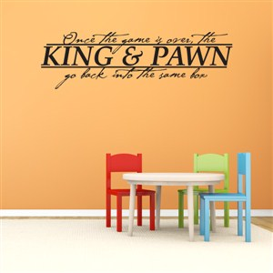Once the game is over, the king & pawn go back into the same box