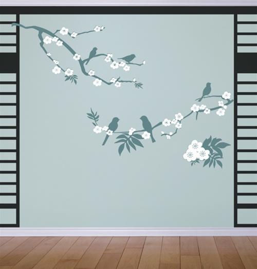 Zen Blossoms Branch With Birds Wall Decal Sticker - Zen wall decals