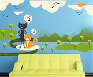 CATS BIRDS MOUNTAINS AND CLOUDS WALL DECAL KIT -NURSERY ROOM DECOR -WALL FABRIC -VINYL DECAL -REMOVABLE AND REUSABLE