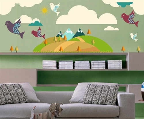 mountain trees and birds wall decal kit nursery room decor wall fabric vinyl decal removable and reusable
