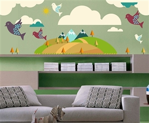 MOUNTAIN TREES AND BIRDS WALL DECAL KIT - NURSERY ROOM DECOR - WALL FABRIC - VINYL DECAL - REMOVABLE AND REUSABLE