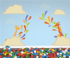 GIRAFFE WITH CLOUDS AND SWIRLS WALL DECAL KIT- NURSERY ROOM DECOR -WALL FABRIC - VINYL DECAL - REMOVABLE AND REUSABLE